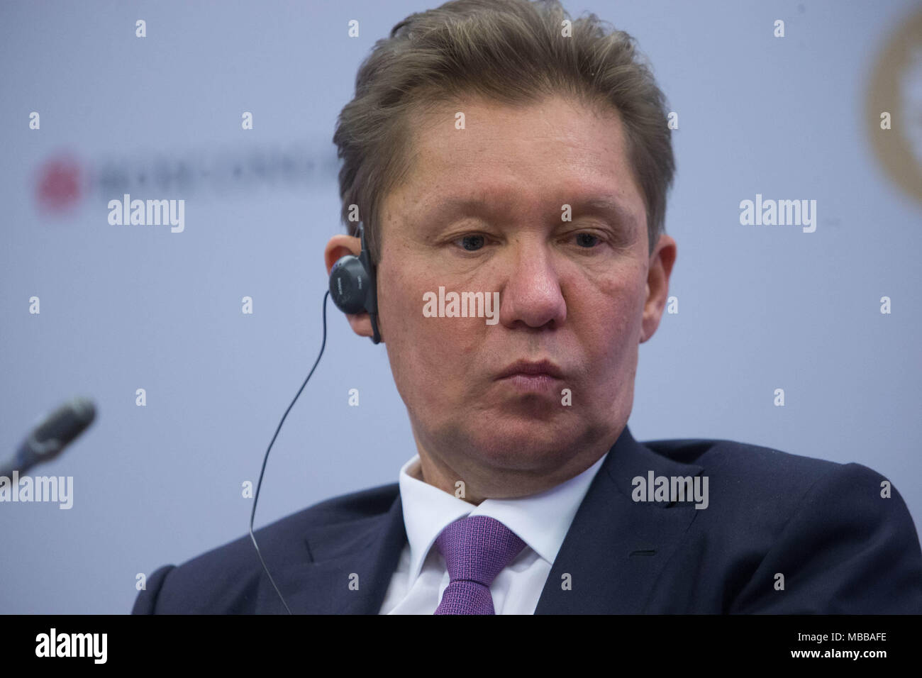 June 1, 2017 - Saint Petersburg, Russia - Gazprom's CEO, Alexey Miller attends a session of the St. Petersburg International Economic Forum (SPIEF)..06 April 2018 have been put on sanctions list by the US Department of the Treasurys Office of Foreign Assets Control (OFAC) in consultation with the US Department of State. (Credit Image: © Igor Russak/SOPA Images via ZUMA Wire) - Stock Image
