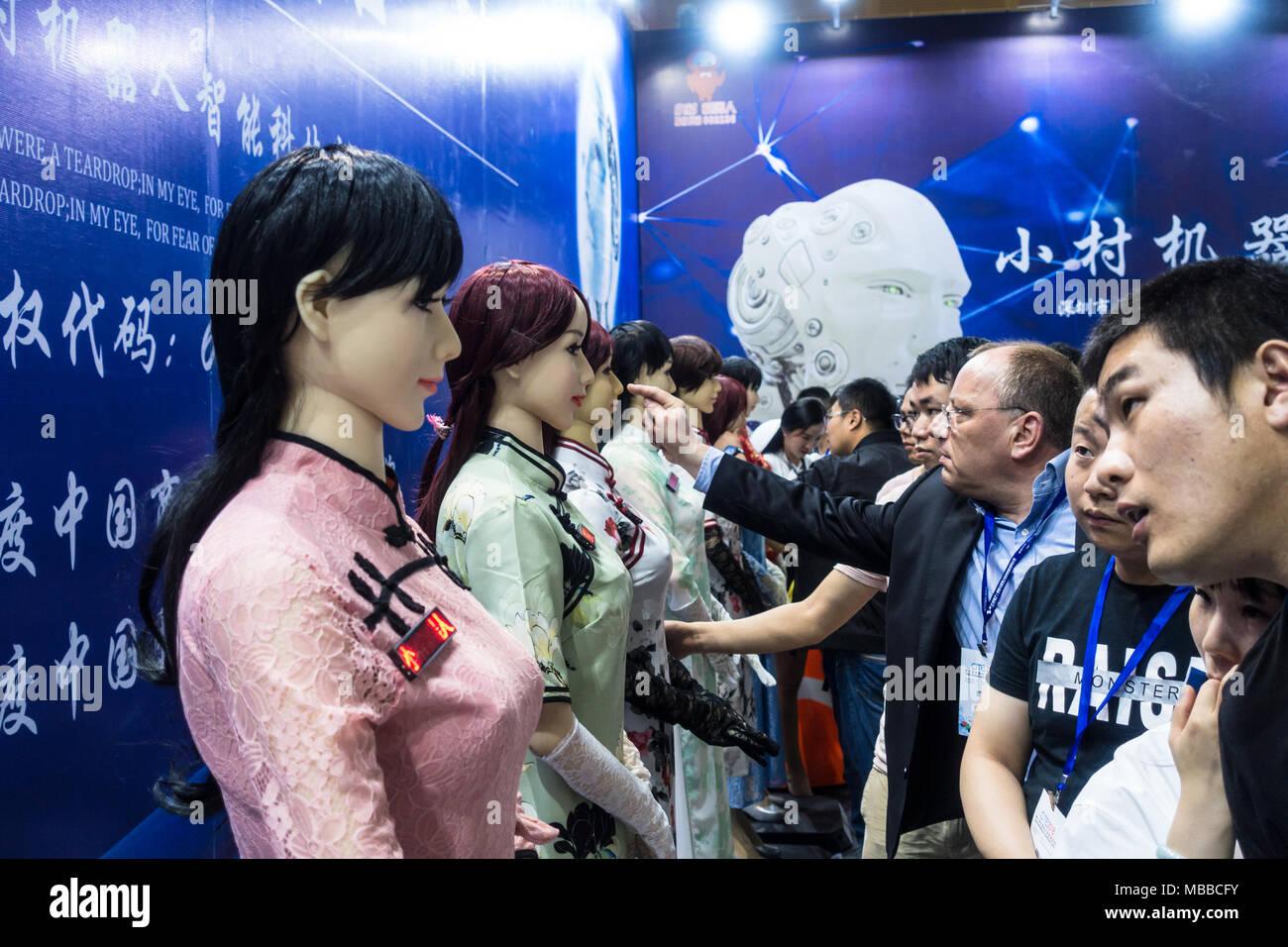 Human-like robot (humanoid robot) exhibit at technology fair in Shenzhen, China. - Stock Image