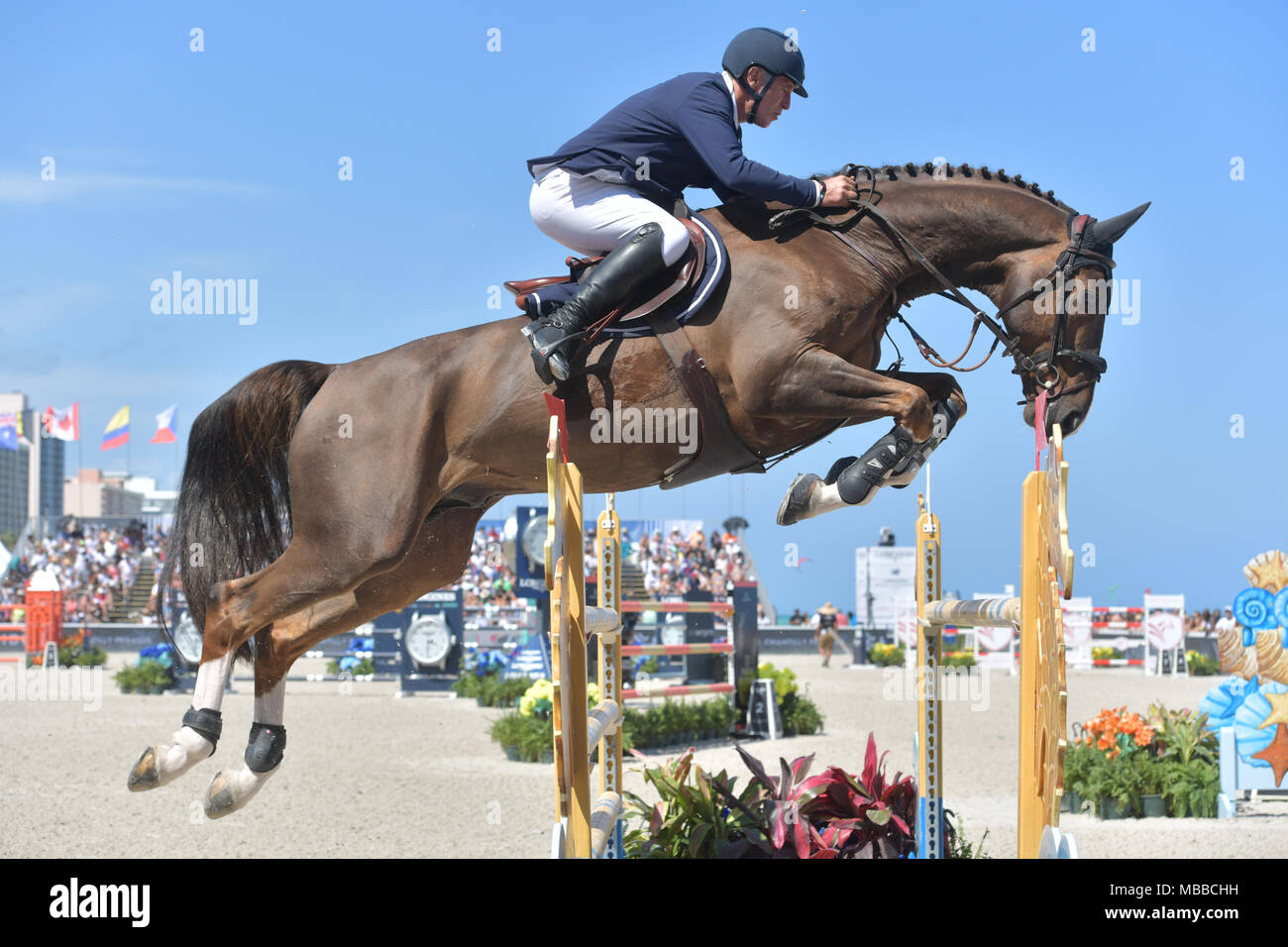 MIAMI BEACH, FL - APRIL 07: Roger-Yves Bost at the Longines Global Champions Tour stop day 3 in Miami Beach on April 7, 2018 in Miami Beach, Florida  People:  Roger-Yves Bost - Stock Image