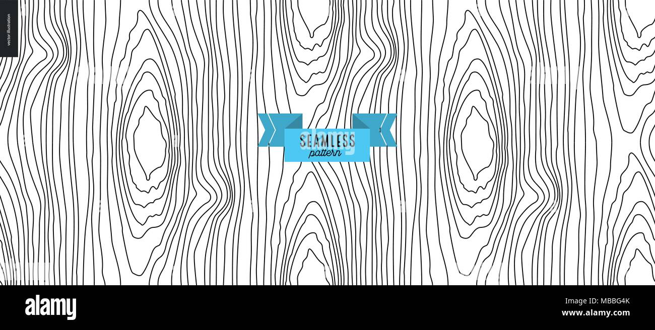 Seamless black and white hand drawn wood pattern Stock Vector