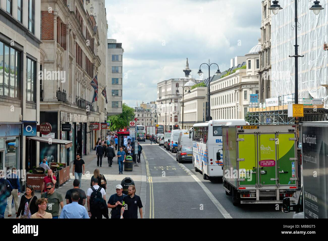 Traffic congestion on the Strand central London England UK - Stock Image