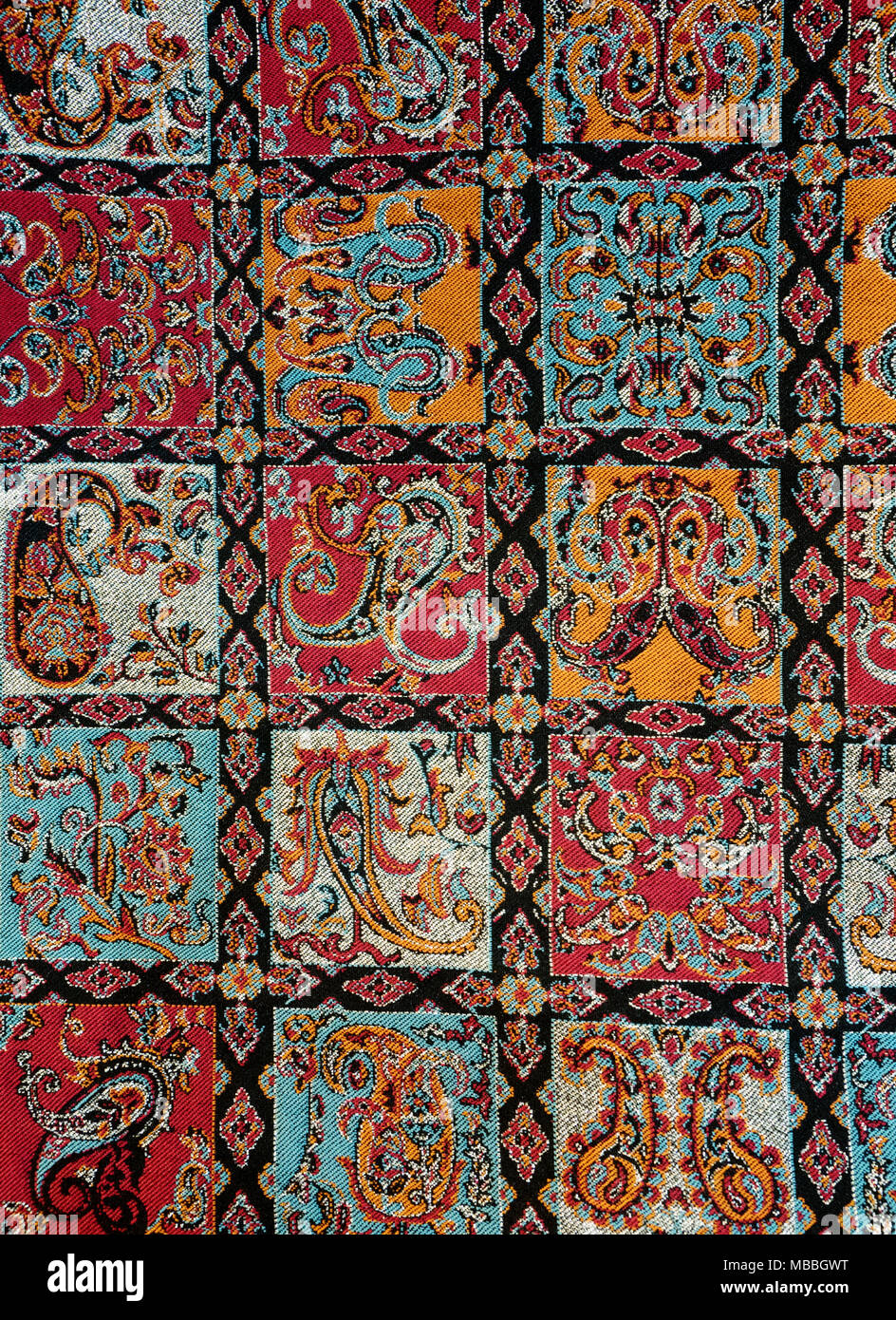Colorful persian tablecloth ( termeh ) - Stock Image
