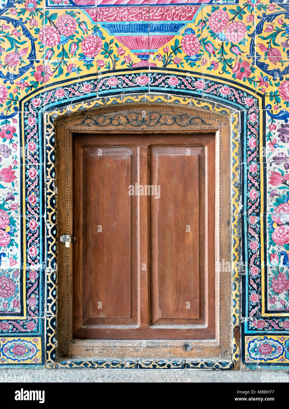 Superb Wooden Door At Nasir Ol Molk Mosque, Shiraz, Iran   Stock Image