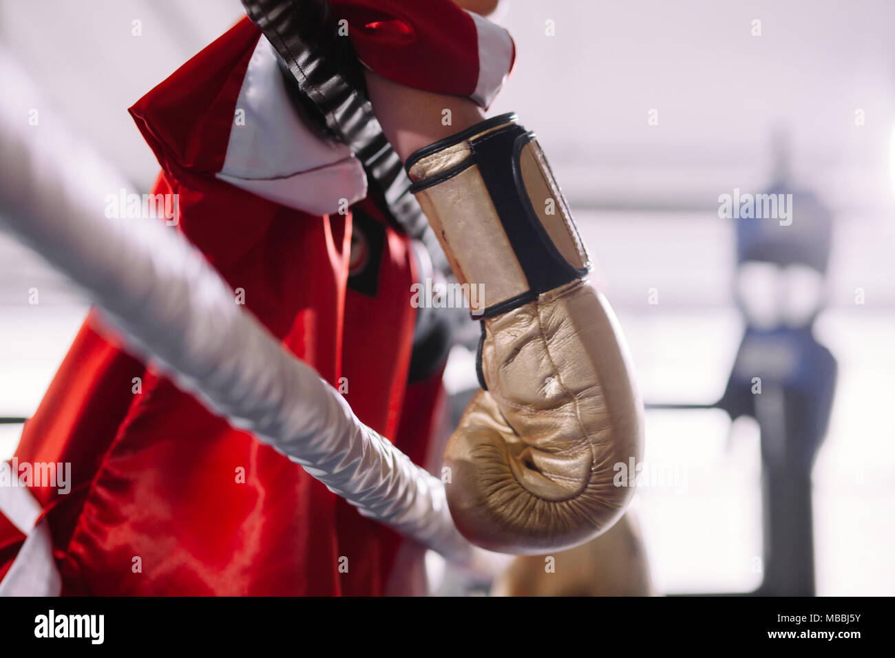 portrait of sweaty exhausted boxer resting after difficult fight. Stock Photo