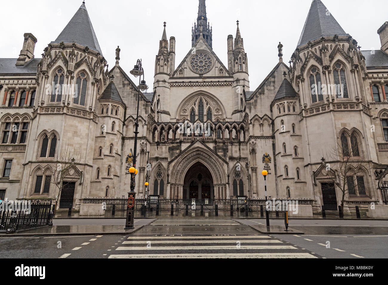 The Royal Courts Of Justice on The Strand in London, England. - Stock Image