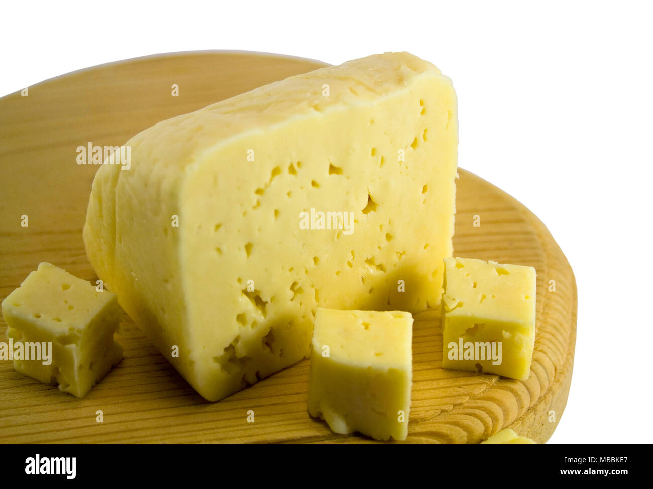 cheese on wooden boad - Stock Image