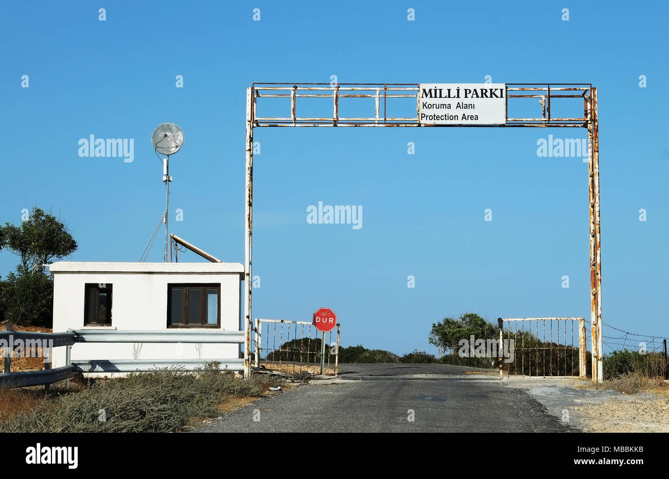Gateway to the protected area of the Karpass peninsula, Northern Cyprus. - Stock Image