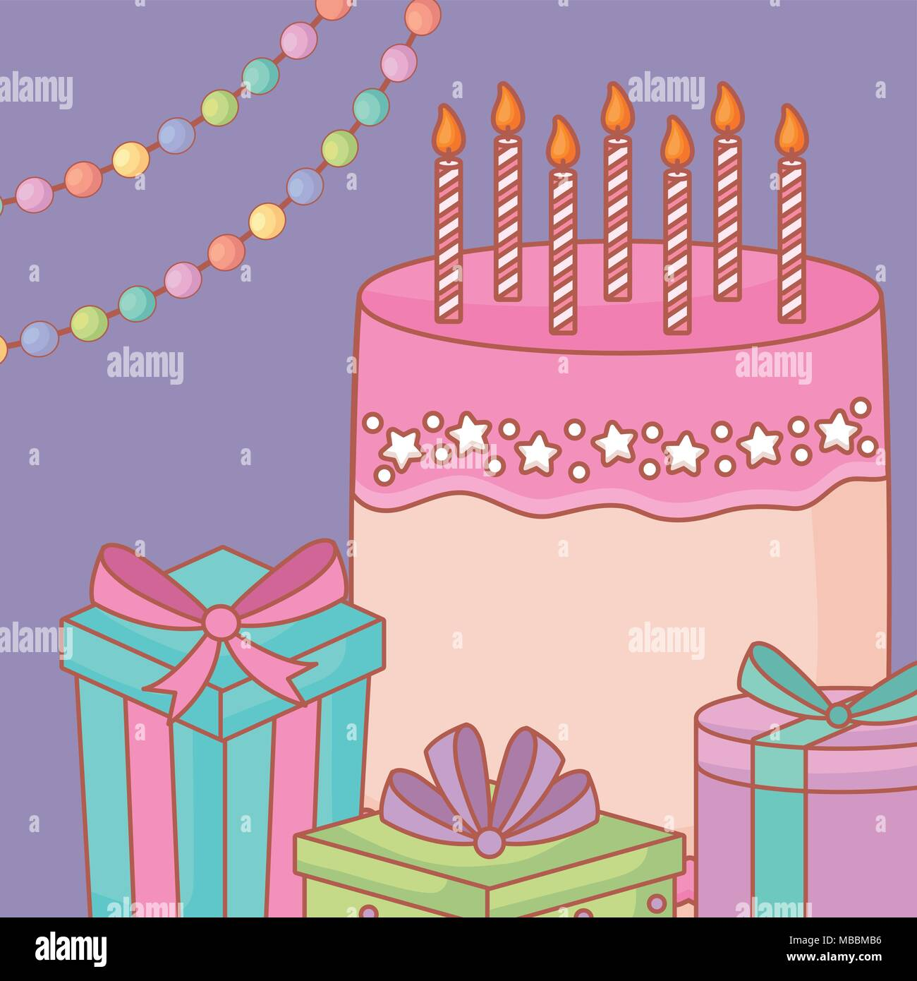 Birthday Cake With Candles And Gift Boxes Over Purple Background