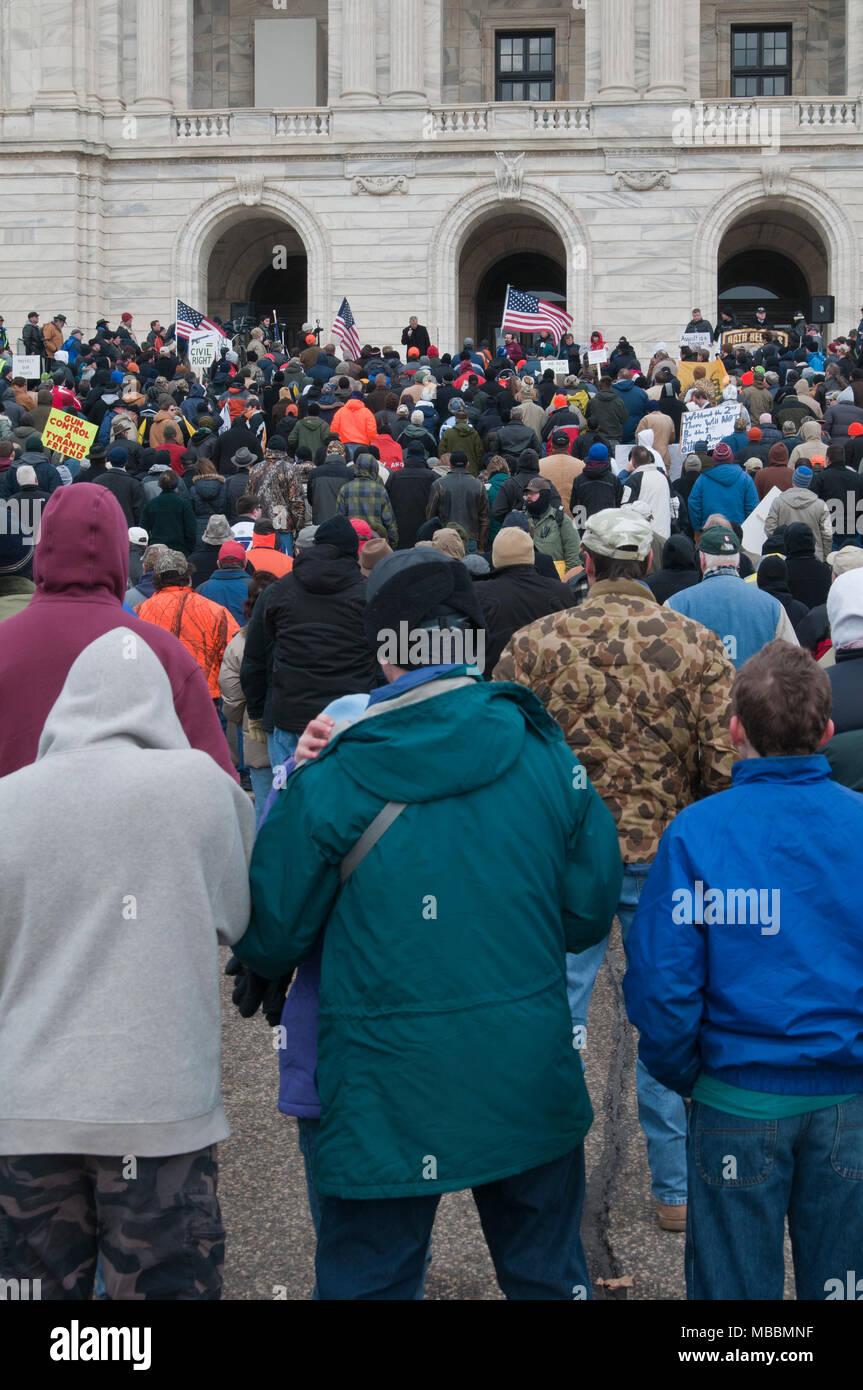 St. Paul, Minnesota.  Gun limits protest. - Stock Image