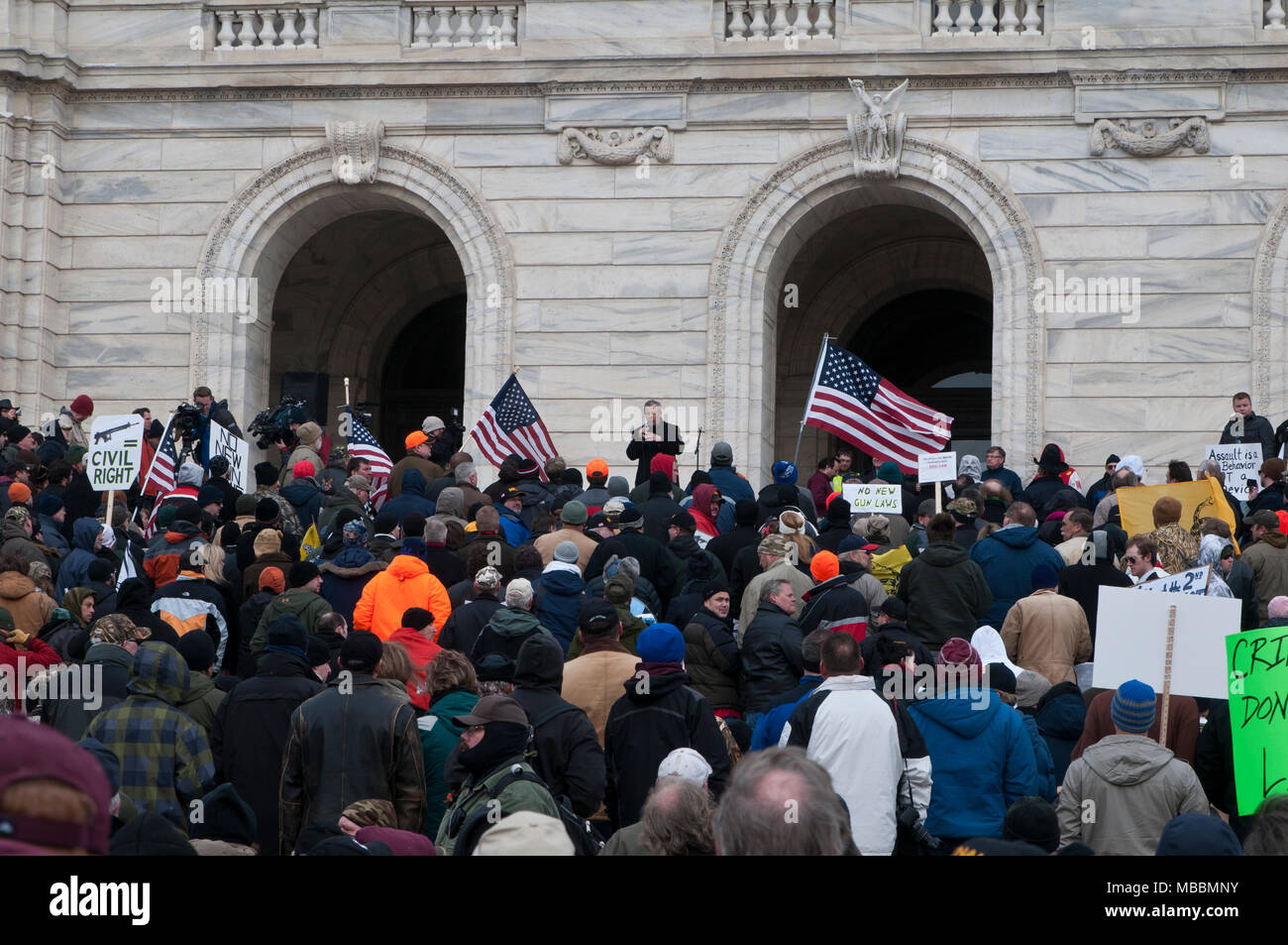 St. Paul, Minnesota.  Gun limits protest. - Stock Image