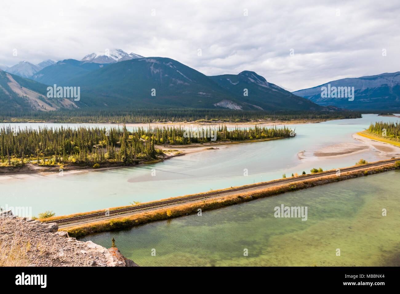 Jasper Lake, Jasper National Park, Alberta Canada - Stock Image