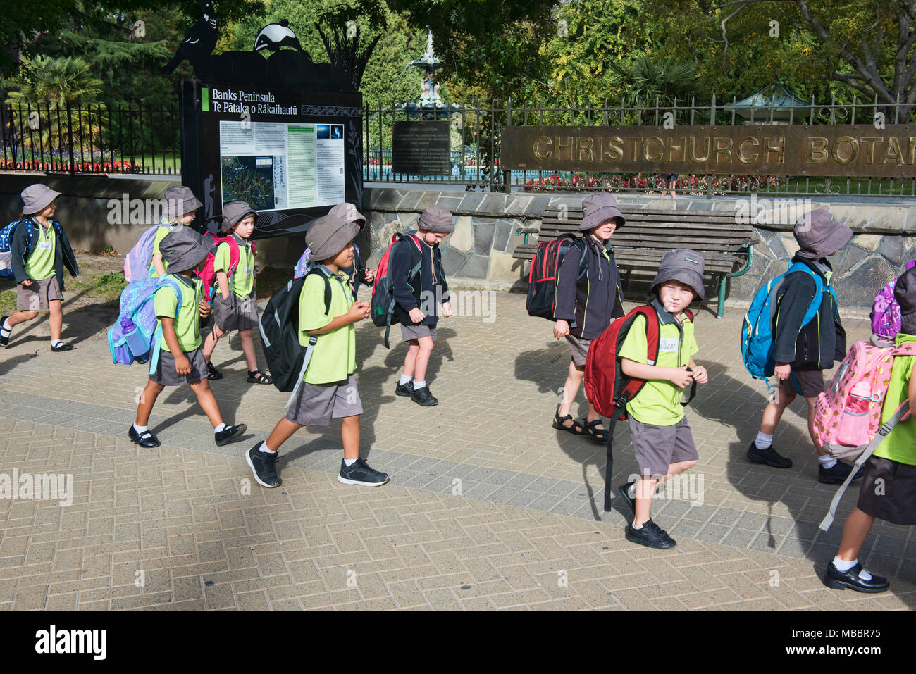 Schoolchildren on a field trip to the Canterbury Museum, ChristChurch, New Zealand - Stock Image