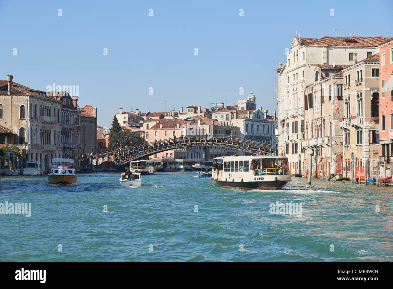 Venice, Italy - Febuary 19, 2016: Ponte dell'Accademia in Venice, a city resignated as a World Heritage site in italy. It is famous for the beauty of  - Stock Image