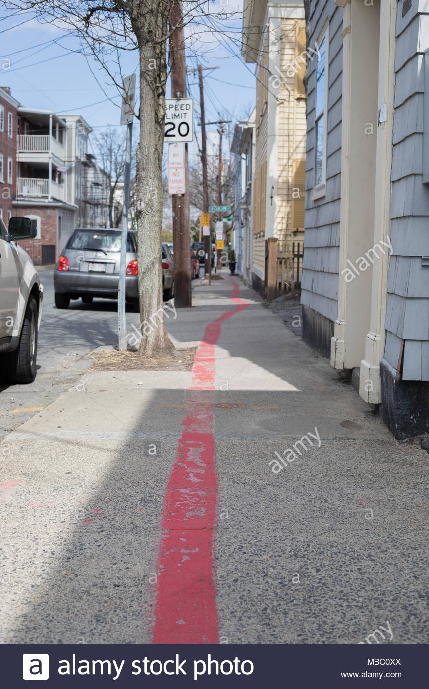 View of the red line which guides visitors around Salem, MA - Stock Image