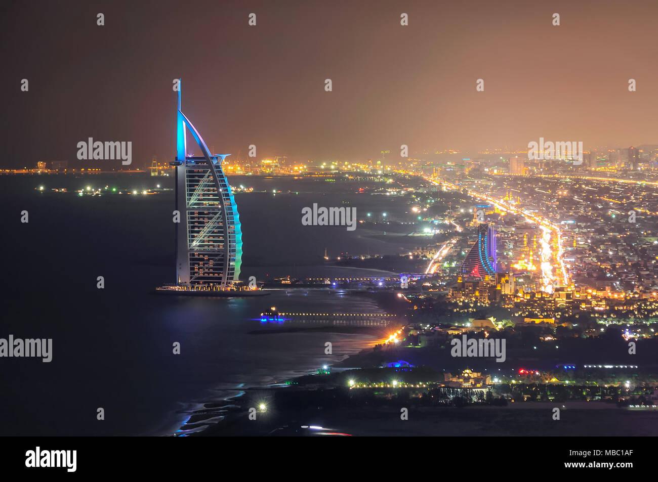 DUBAI, UAE - MAR 18, 2014: Famous Jumeirah beach view with 7 star hotel Burj Al Arab, Dubai, United Arab Emirates - Stock Image