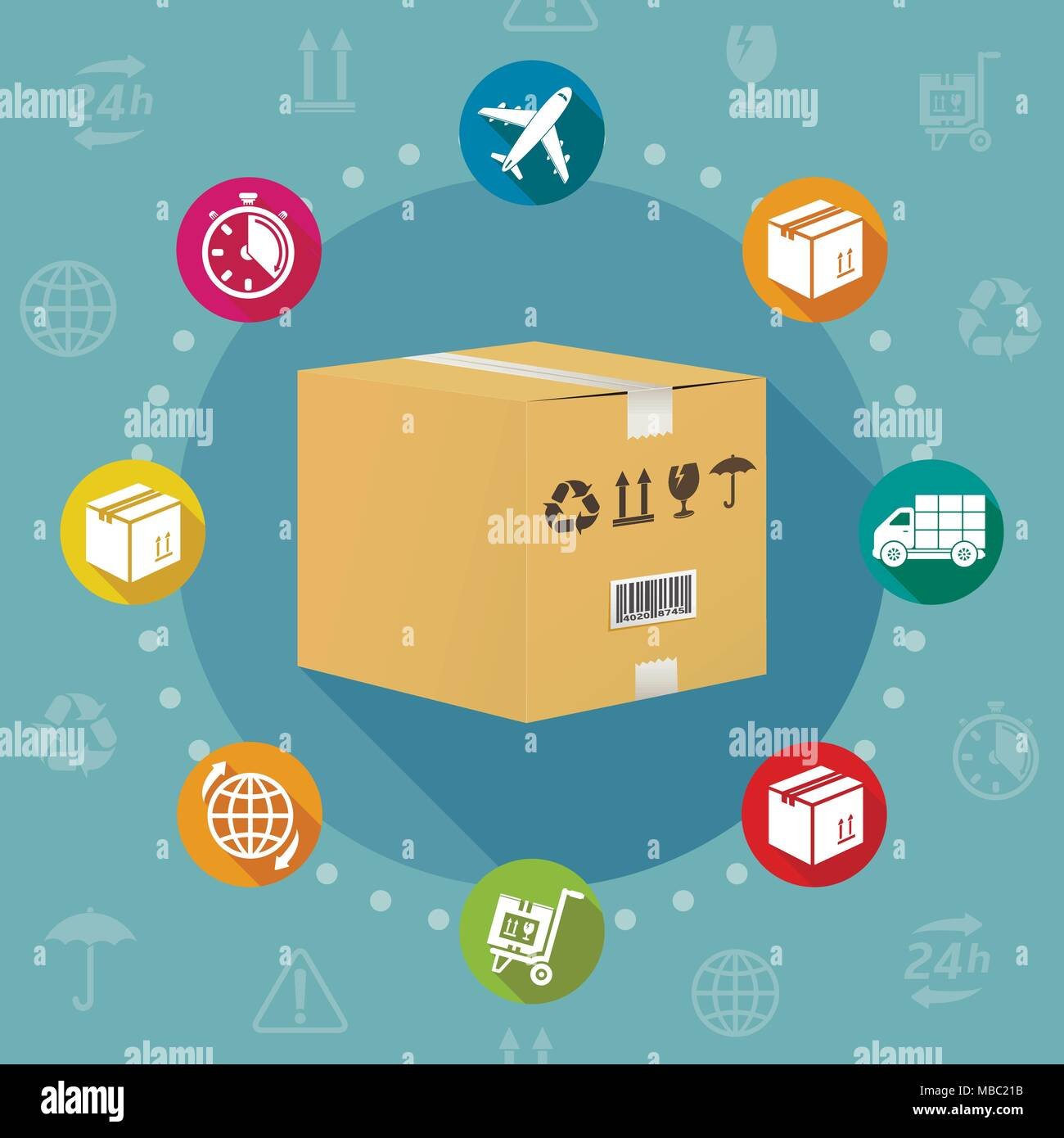 Logistics and shipment flat design style vector concept - Stock Image