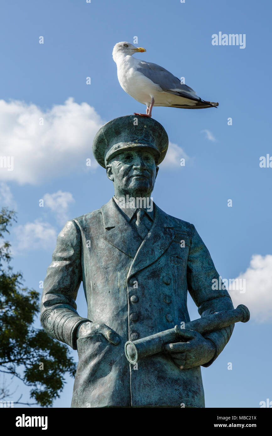 Statue of Admiral Sir Bertram Home Ramsay, commander of the naval forces during the Dunkirk evacuation in 1940 and D-Day in 1944, Dover Castle, Kent - Stock Image