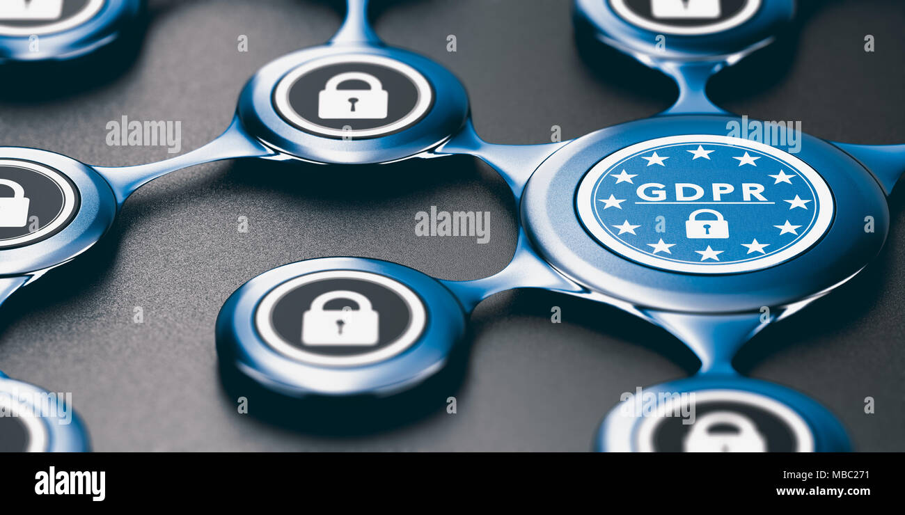 3D illustration of an abstract network protected against intrusion. GDPR compliance Concept - Stock Image