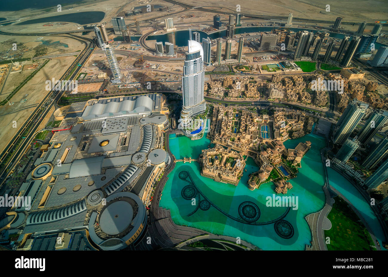 Dubai downtown aerial view by sunset, Dubai, United Arab Emirates - Stock Image