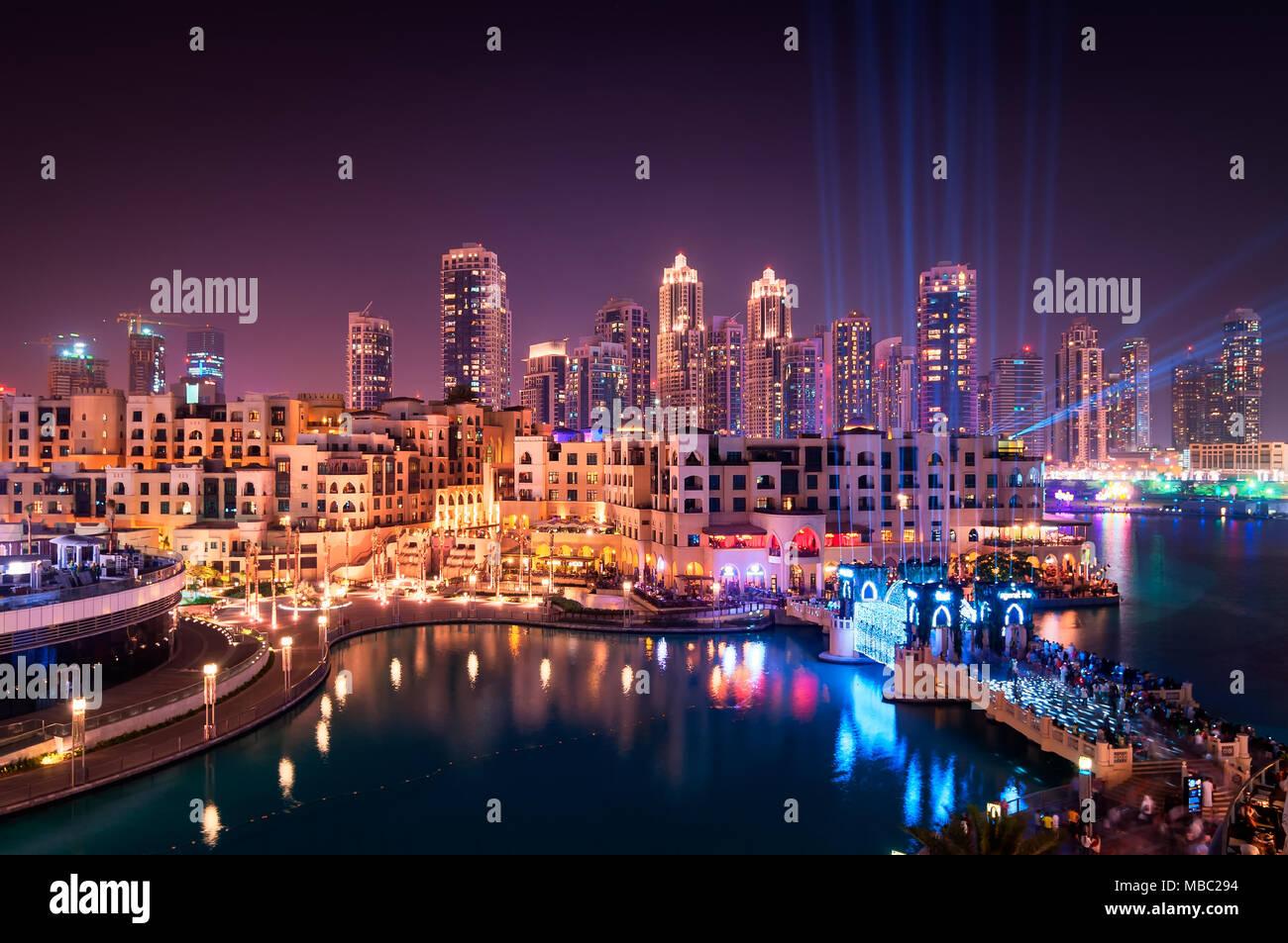 Beautiful famous downtown area in Dubai at night, Dubai, United Arab Emirates - Stock Image