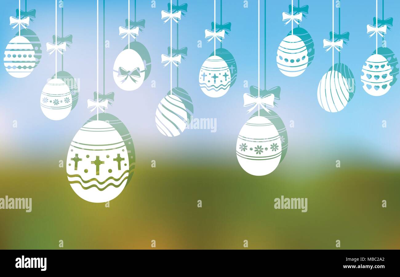 Easter eggs hanging ornaments on blurred background - Stock Vector