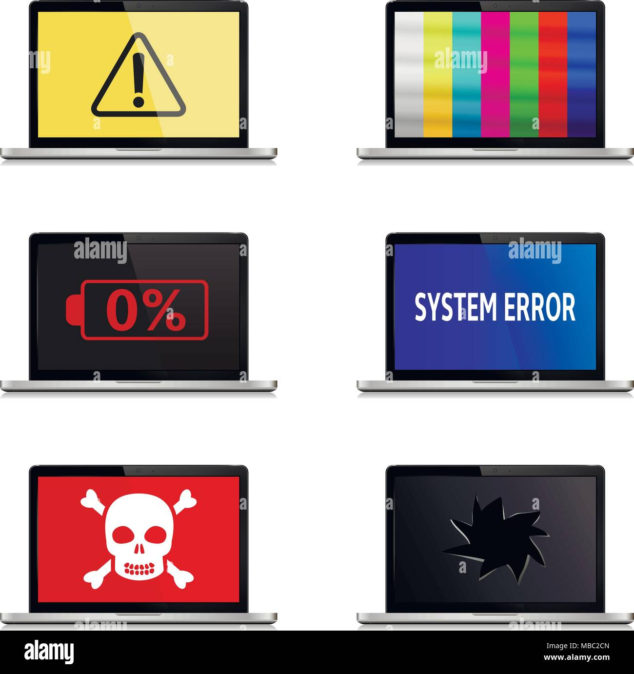 Error signs on laptop screens isolated on white background. Laptop vector icons. - Stock Image