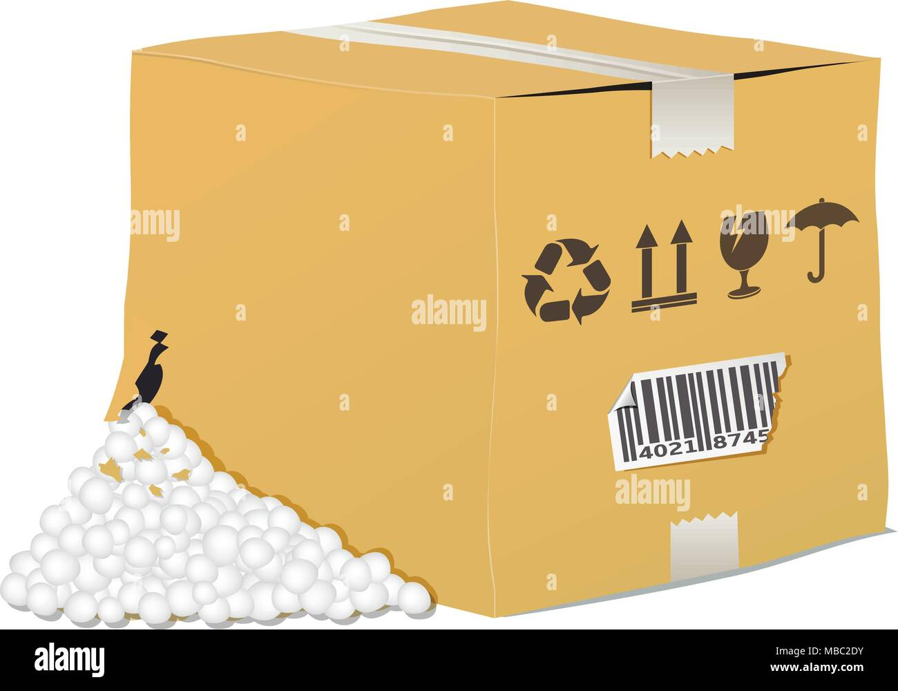 Vector torn and damaged box on white background - Stock Vector