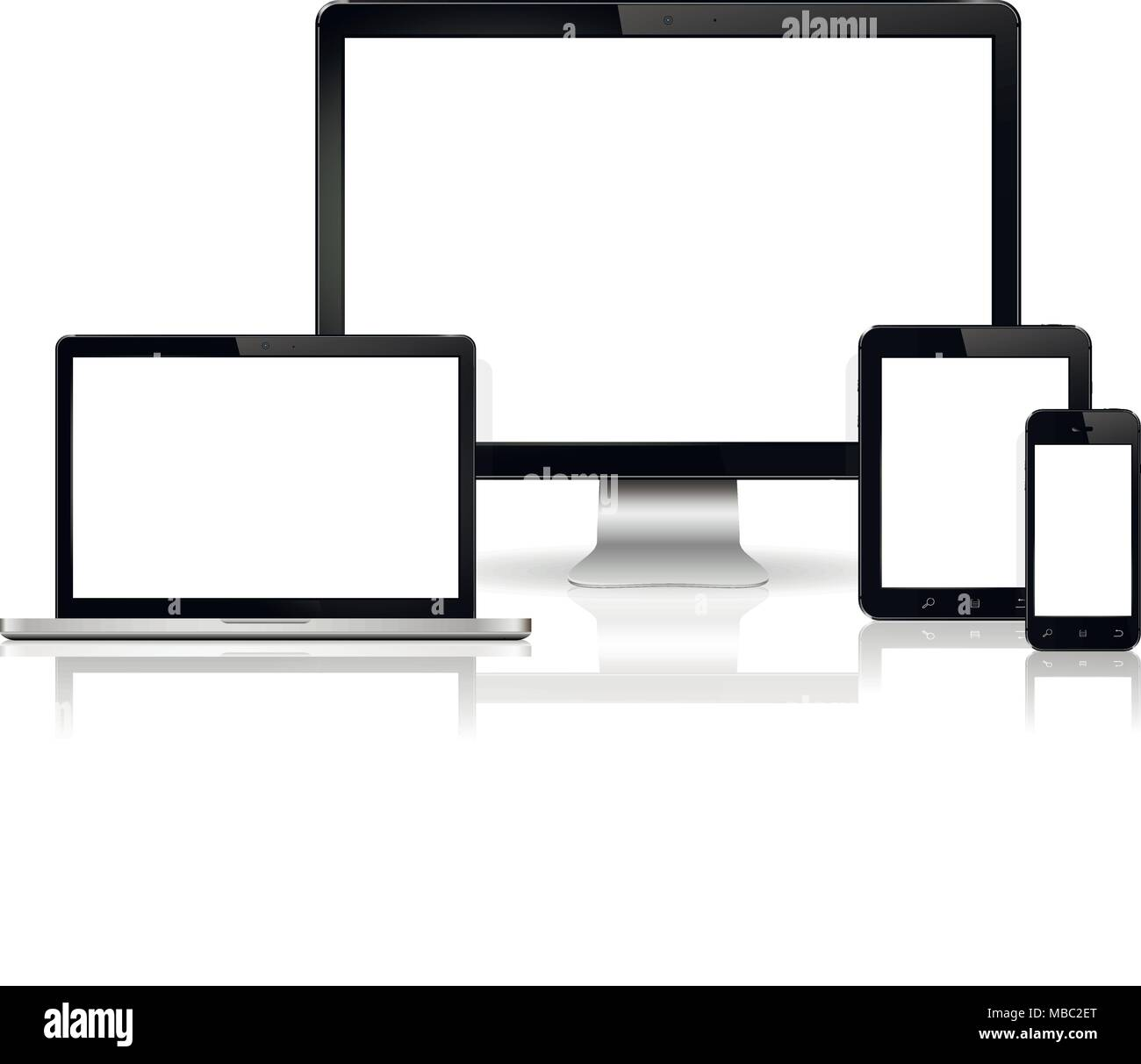 Modern digital display, laptop, tablet and mobile phone with blank screen. Isolated on white background. Vector illustration. - Stock Image