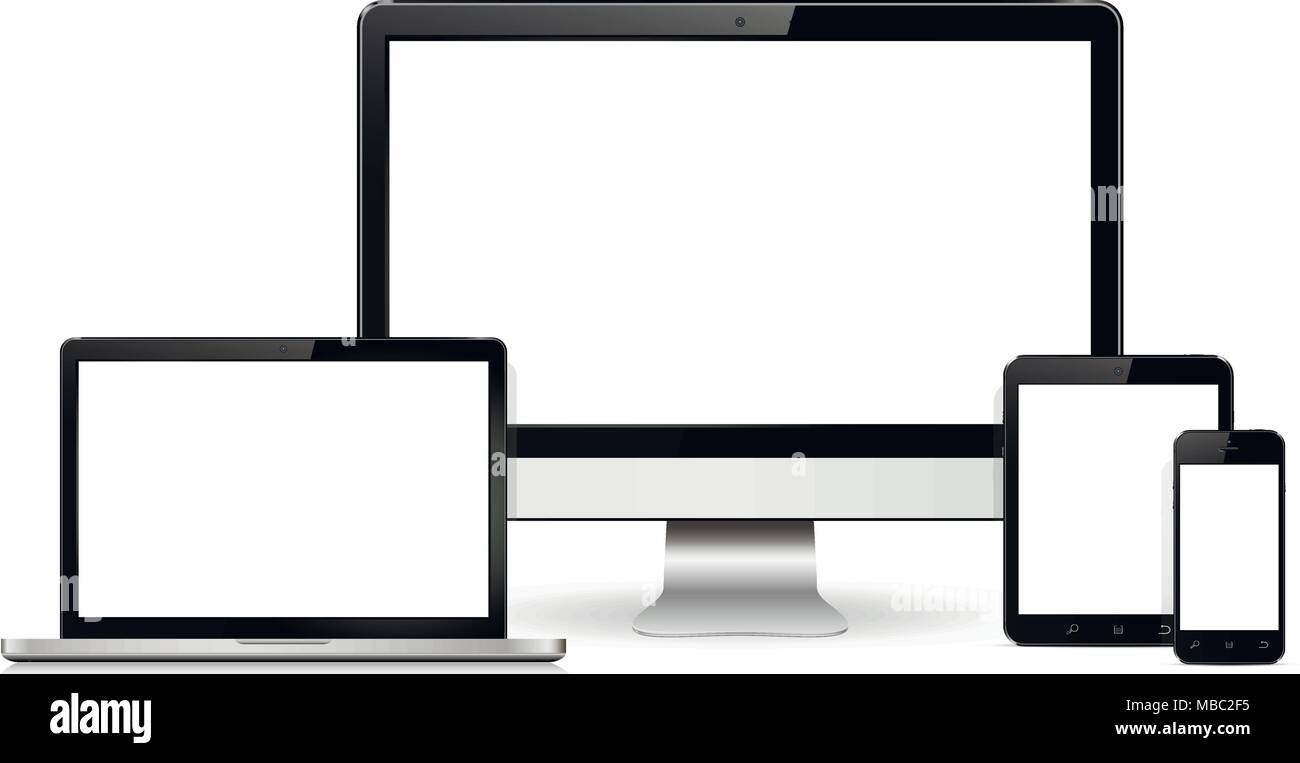 Modern digital display , laptop, tablet and mobile phone with blank screen. Isolated on white background. Vector illustration. - Stock Image