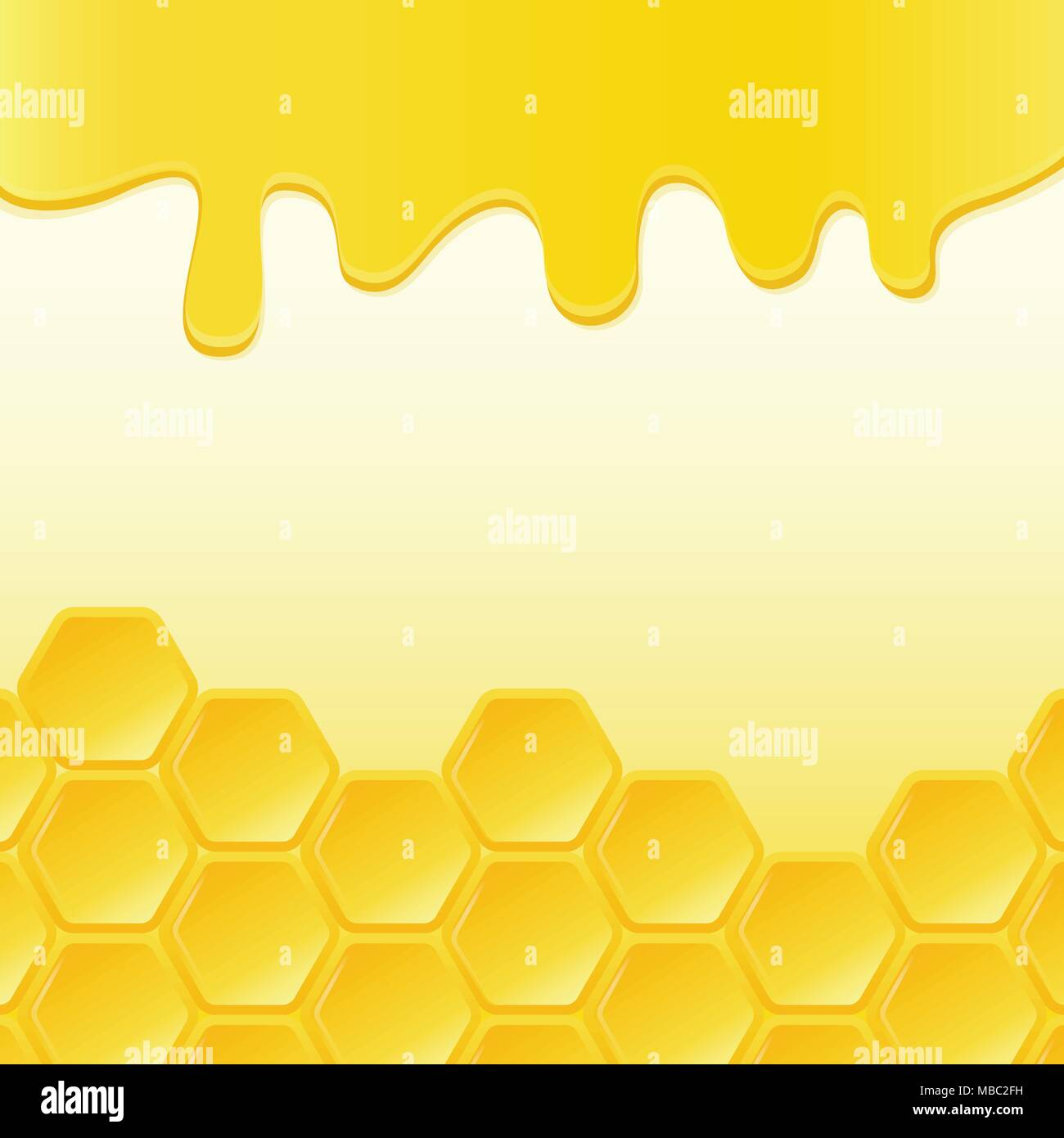Honeycomb and flowing honey. Vector background Stock Vector