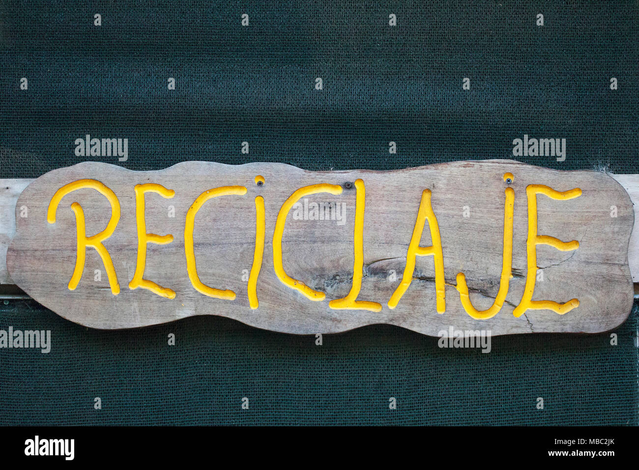 Reciclaje - Recycling sign in Spanish language - Stock Image