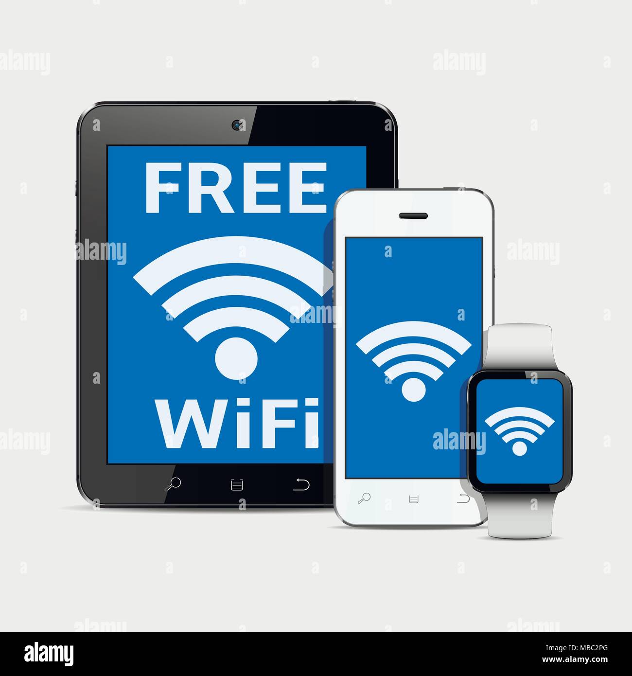 Wireless Technology Gadgets And Wifi Internet Connection Symbol