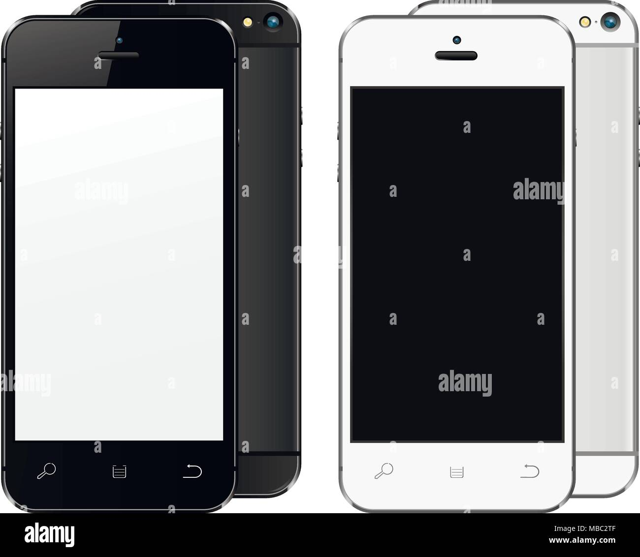 New realistic mobile phones mockups front and back with blank screen isolated. Vector illustration. Stock Vector