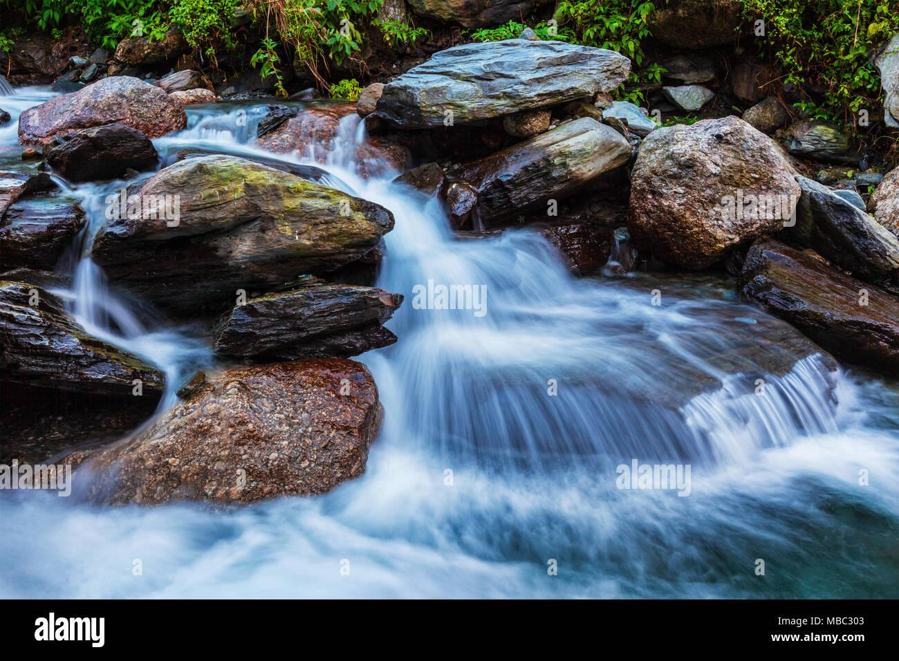 Bhagsu waterfall. Bhagsu, Himachal Pradesh, India - Stock Image