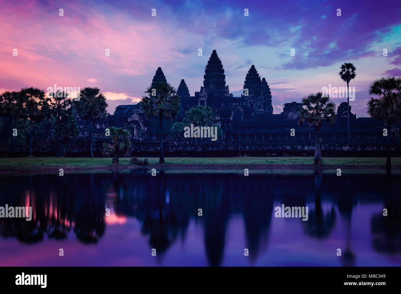 Angkor Wat - famous Cambodian landmark - on sunrise - Stock Image