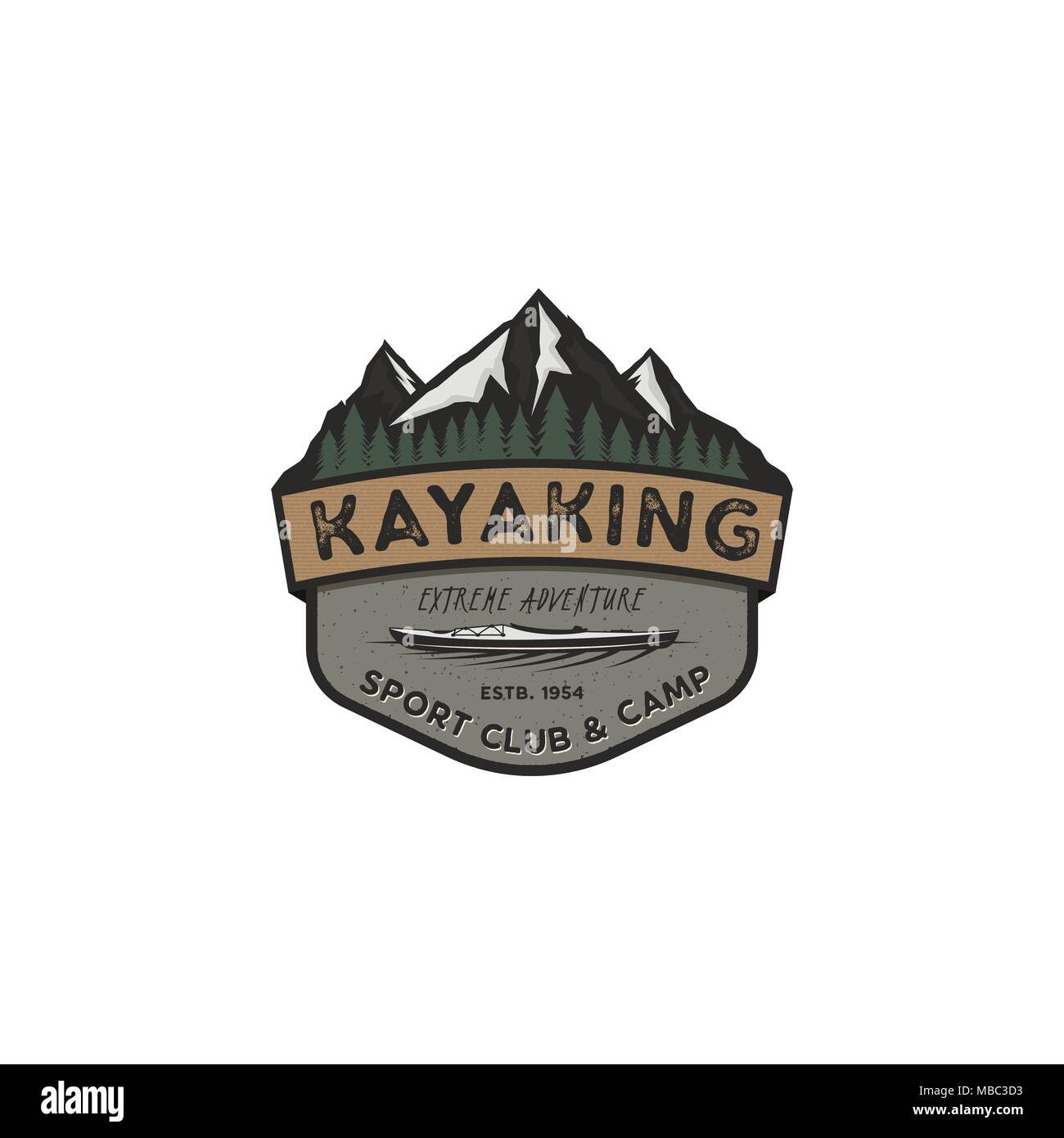 Kayaking vintage badge  Mountain explorer label  Outdoor