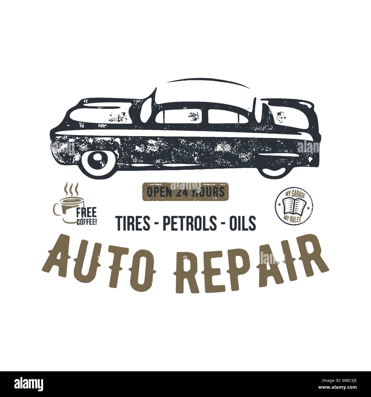 Vintage hand drawn auto repair t shirt design. Classic car poster ...