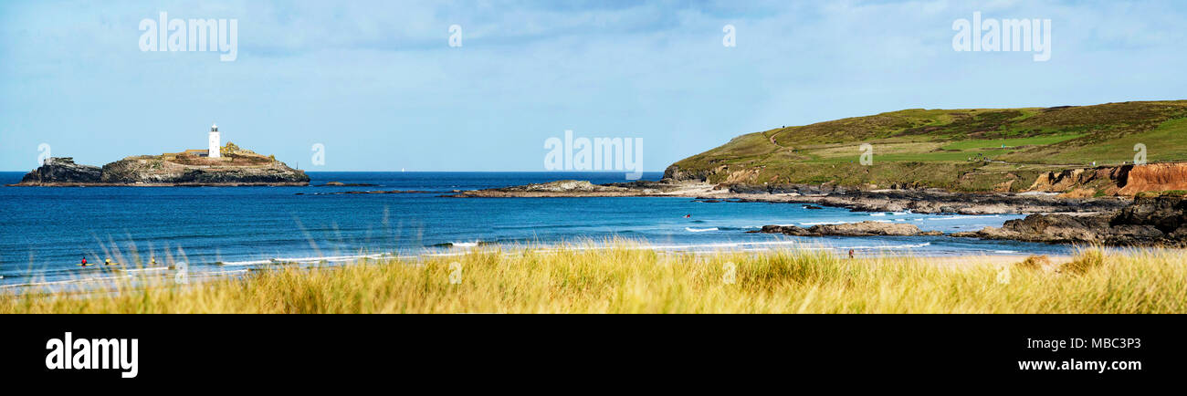panoramic view of the lighthouse at godrevy in cornwall, england, britain, uk. - Stock Image