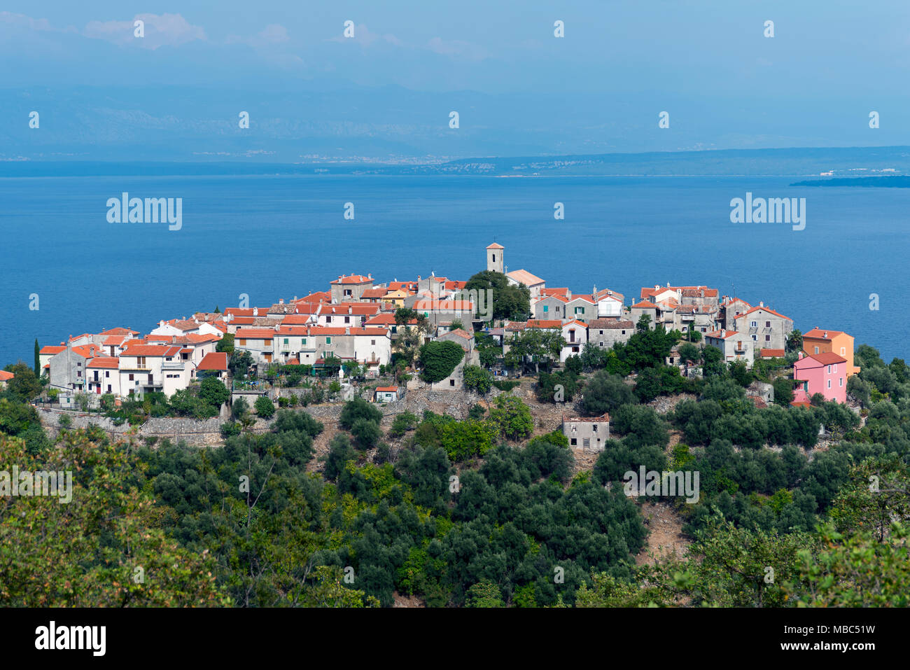 View of Beli, Cres Island, Kvarner Gulf Bay, Croatia Stock Photo
