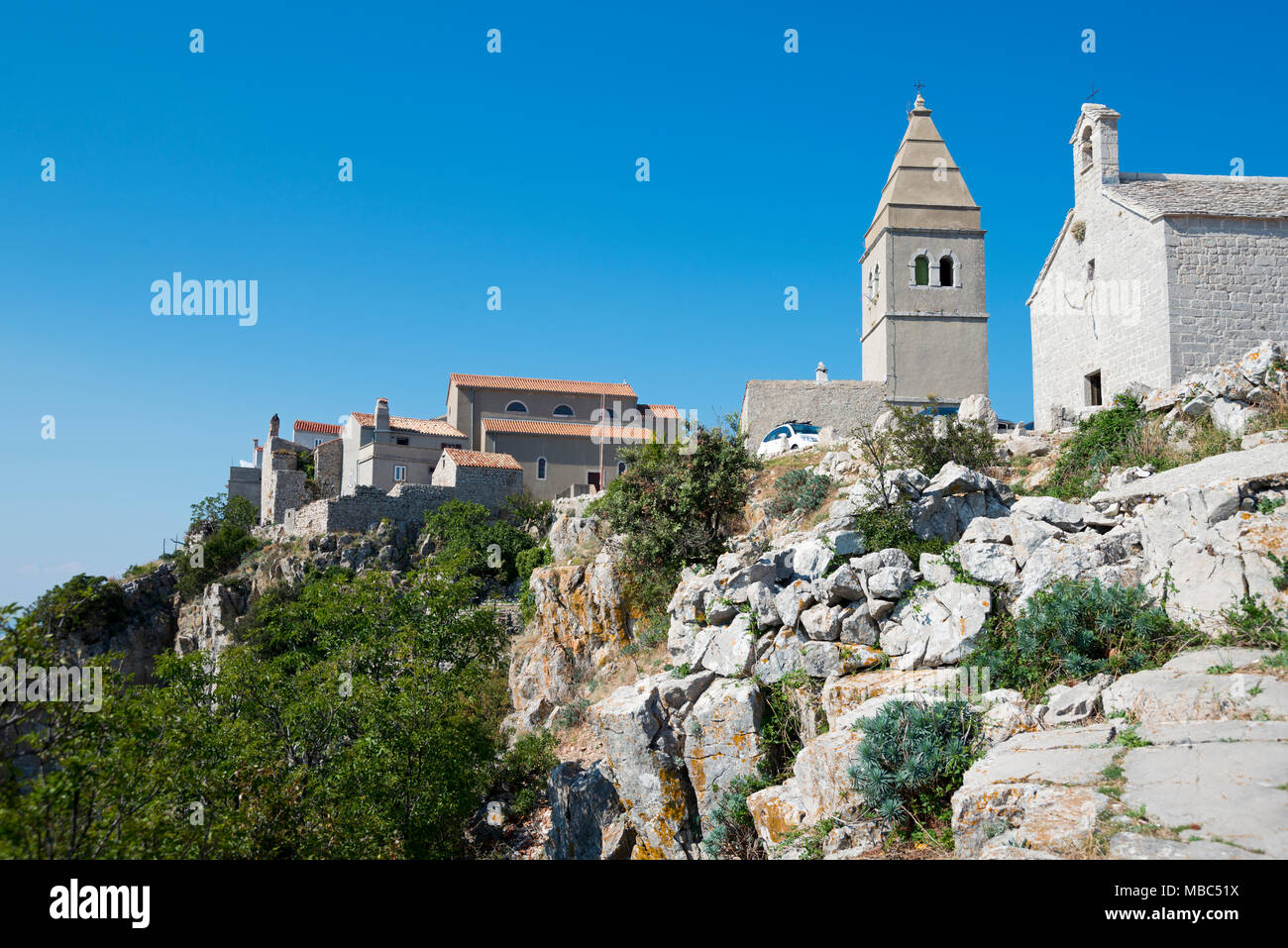 Parish Church of the Blessed Virgin Mary, Lubenice, Cres Island, Kvarner Gulf Bay, Croatia - Stock Image