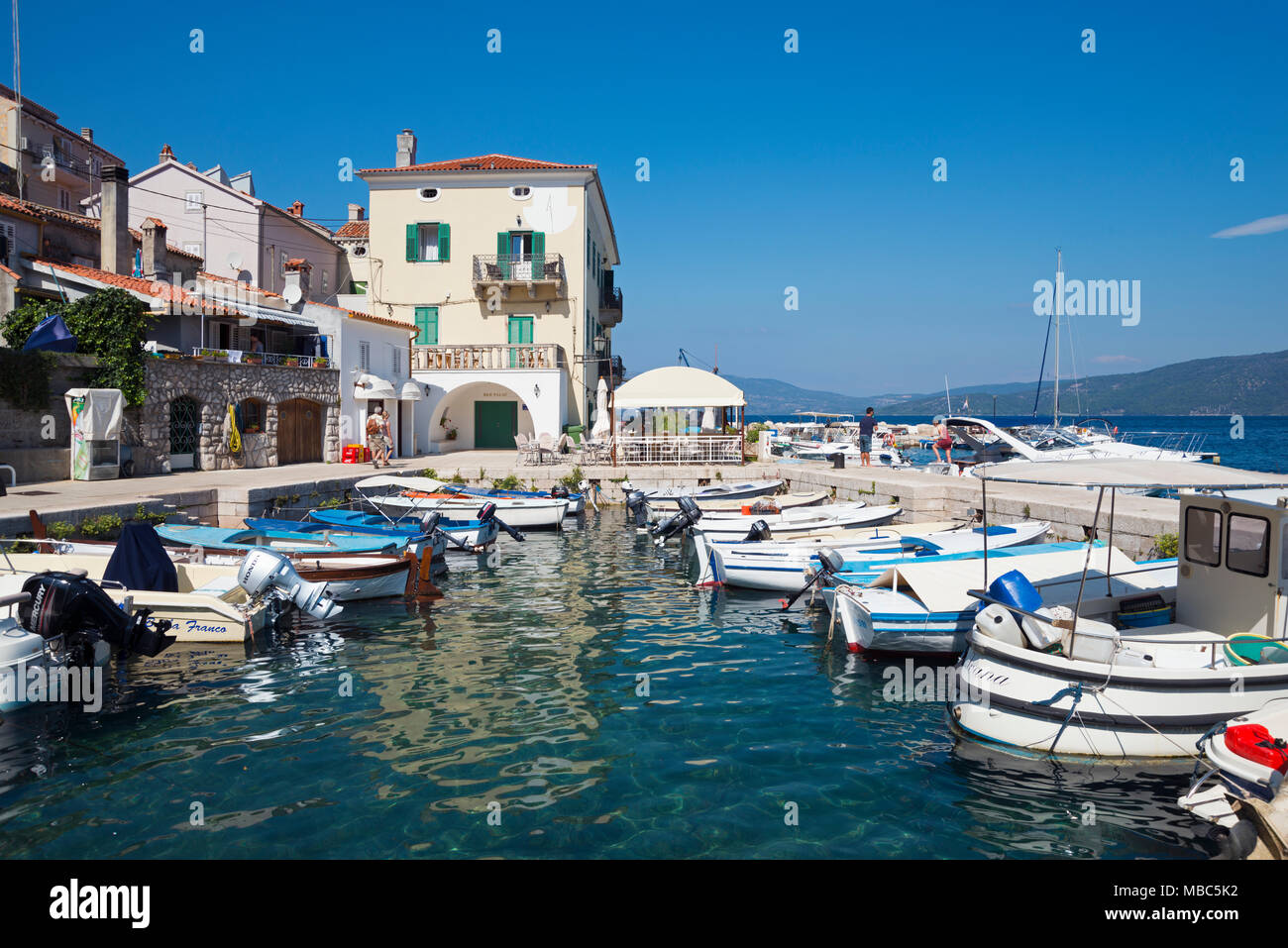 Port, Valun, Cres Island, Kvarner Gulf Bay, Croatia - Stock Image