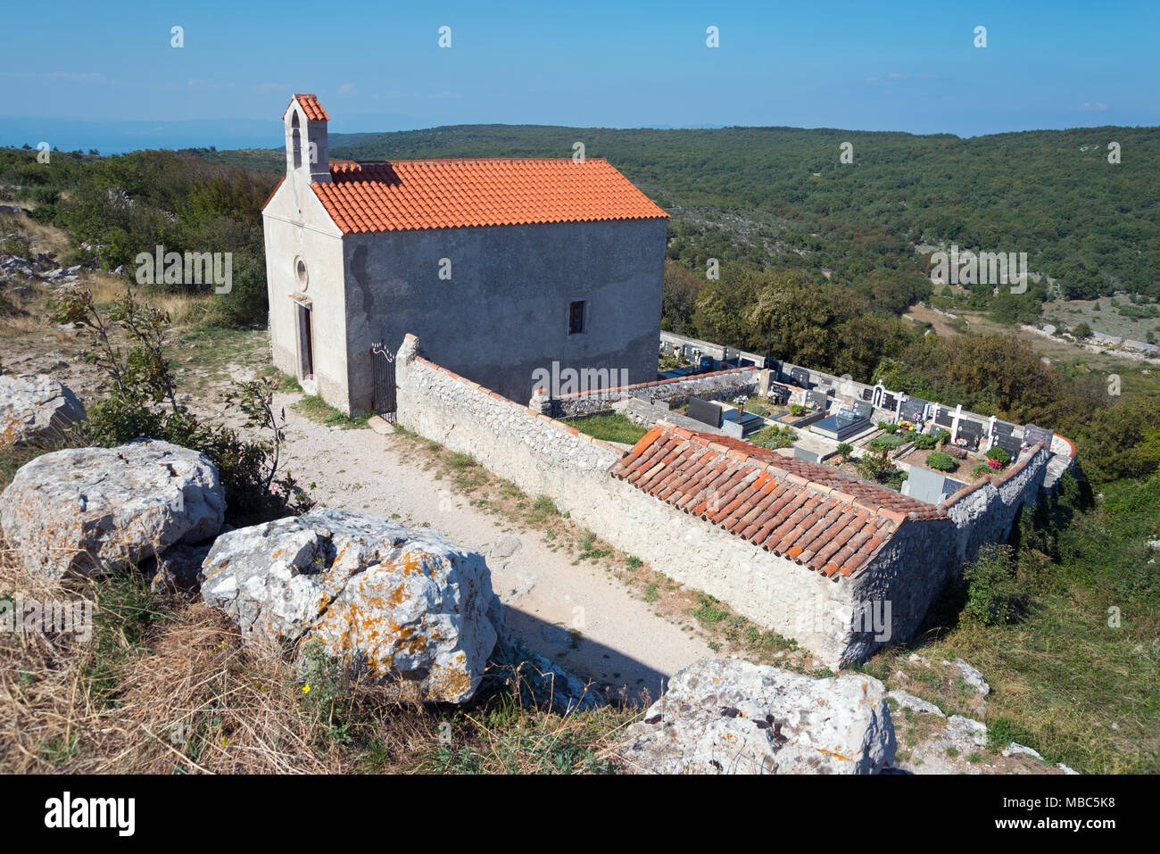 Cemetery chapel Kapela Sv Stjepana no grobljua, Lubenice, Cres Island, Kvarner Gulf Bay, Croatia - Stock Image