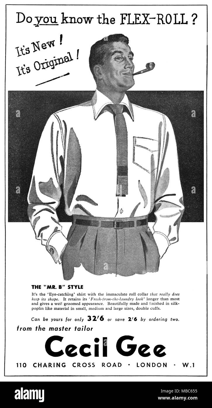 1954 British advertisement for men's fashion store Cecil Gee. - Stock Image
