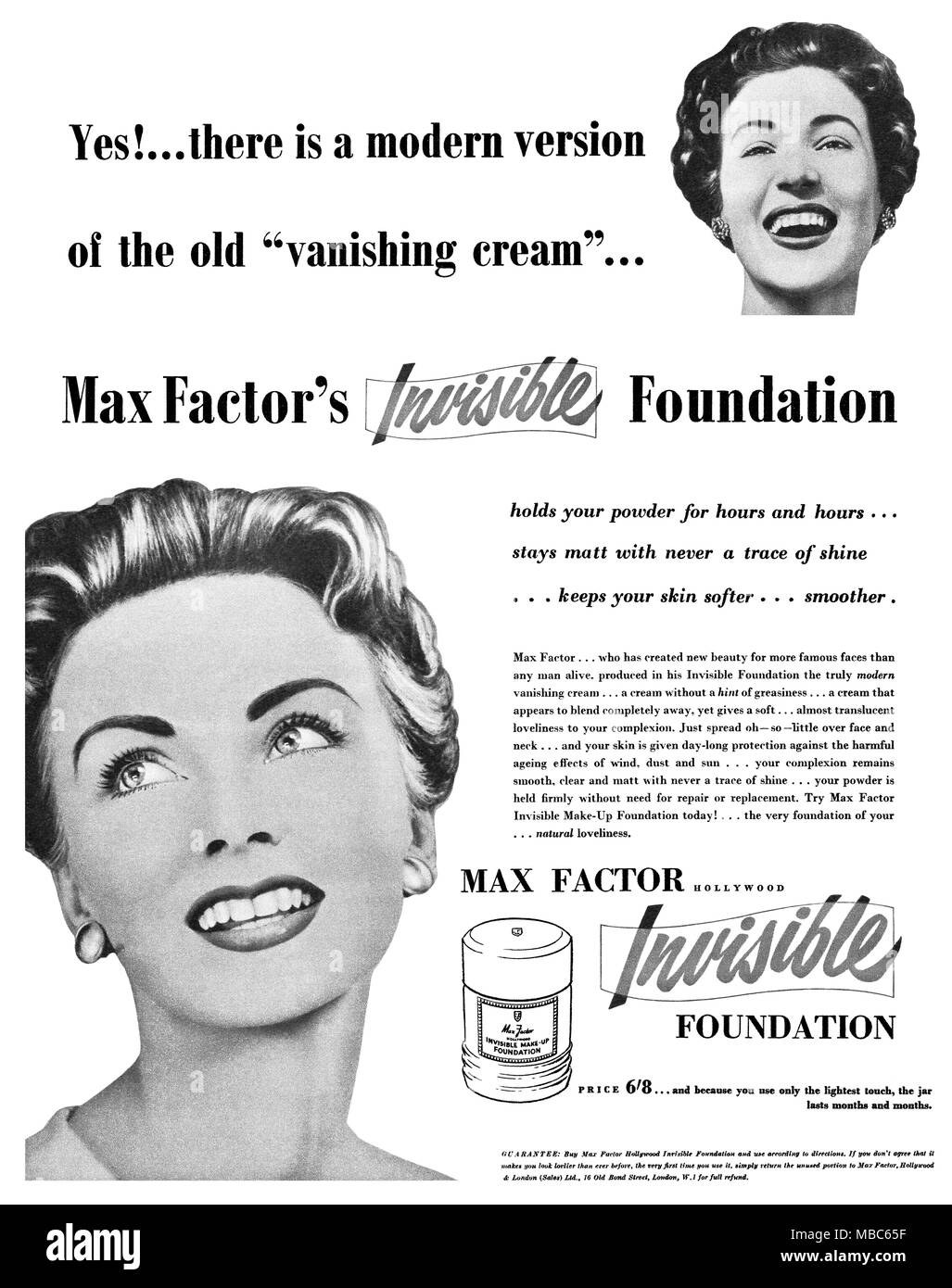 1954 British advertisement for Max Factor Invisible Make-Up Foundation. - Stock Image