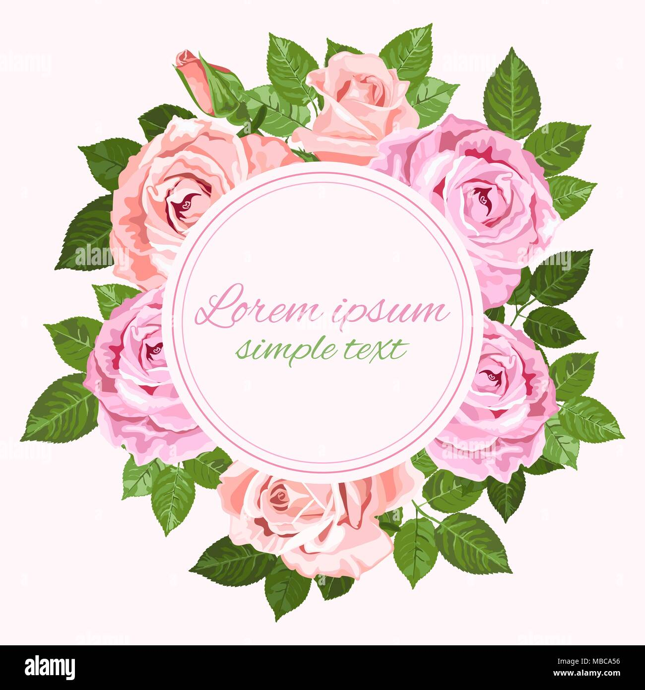 4cc6a9d9829 Vector Save the date wedding invitations with pink and beige roses wreath  and place for text on the white background. Floral design for greeting card