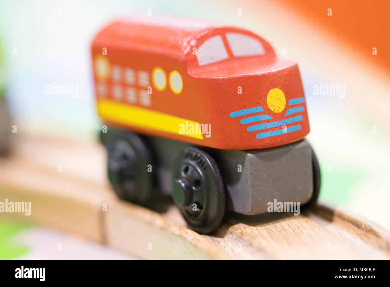 Wooden toy Red train - Toys for kids Play set Educational toys for preschool indoor playground(selective focus) Stock Photo