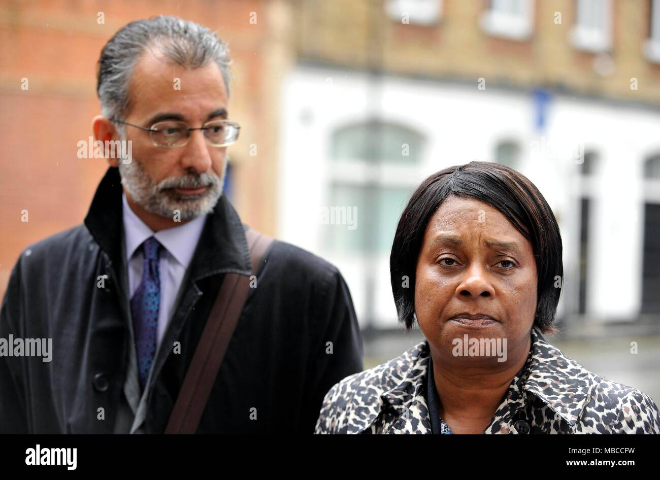 """Doreen Lawrence, the mother of murdered teenager Stephen Lawrence, with leading lawyer Imran Khan who has claimed institutional racism is """"thriving"""" in the Metropolitan Police, nearly 25 years on from the murder Mr Lawrence. - Stock Image"""