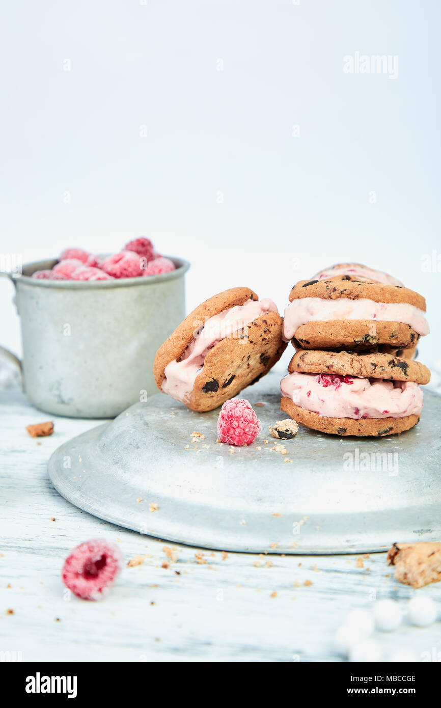 Ice cream sandwiches with strawberry. Summer snack. Dessert - Stock Image