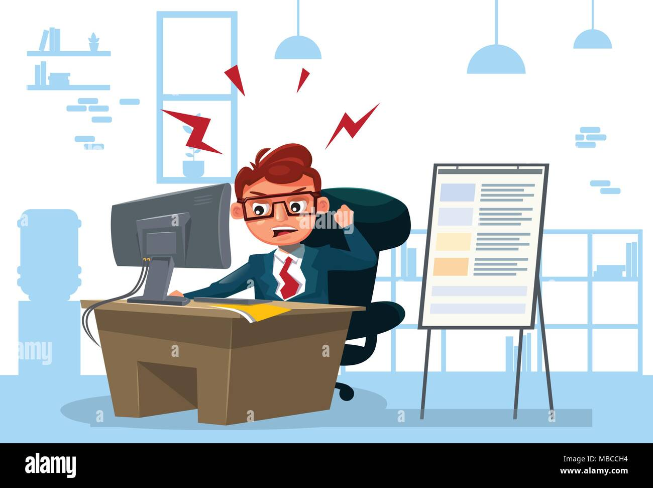 Furious Business Man Working On Computer Sit At Desk Over Office