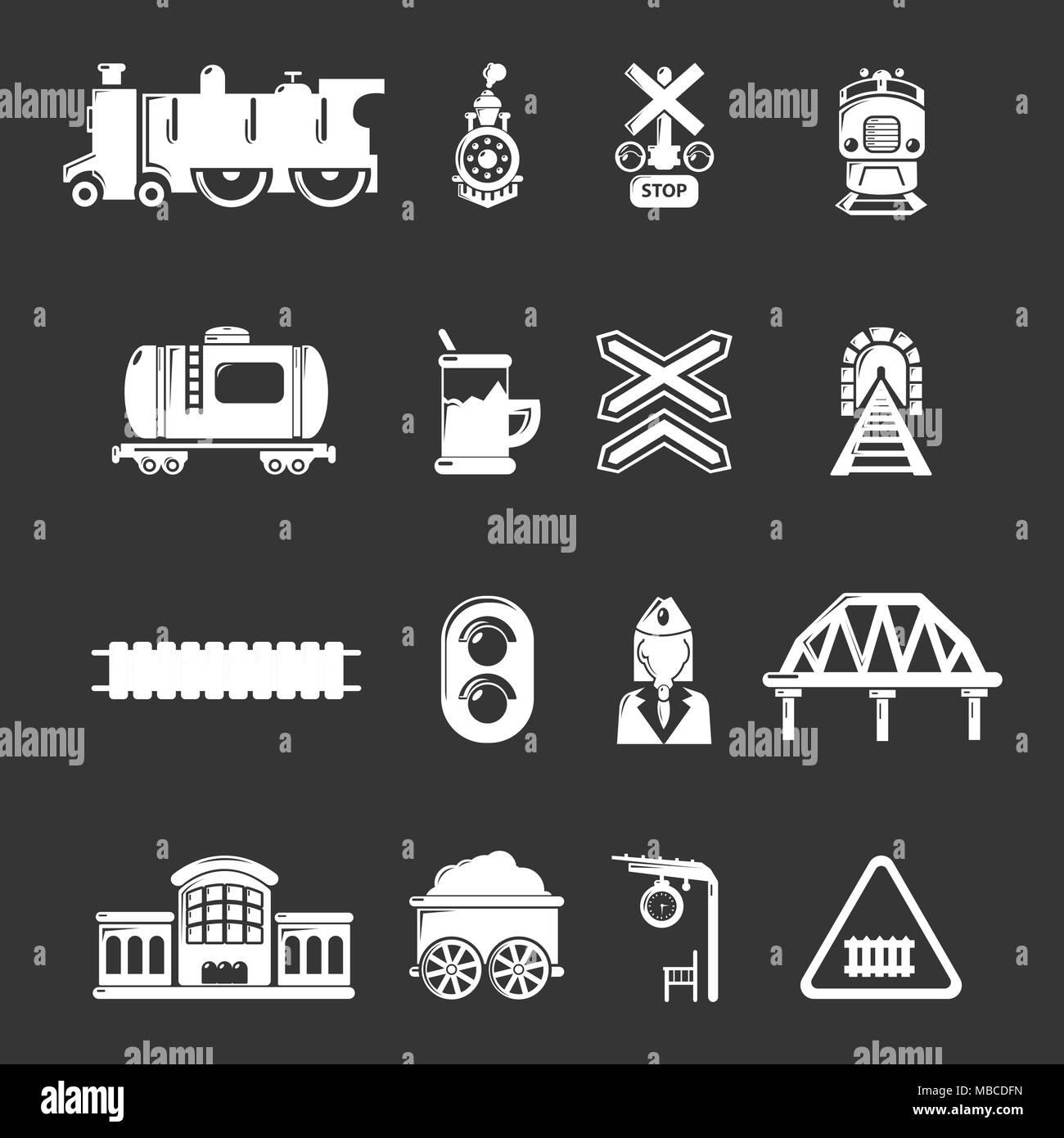 Train railroad icons set grey vector - Stock Vector